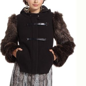Anthropologie-Leifsdottir-Faux Fur Wool Jacket